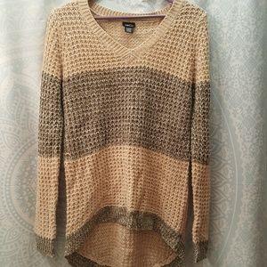 Rue21 Striped Hi Lo V-Neck Crochet Sweater Size XL